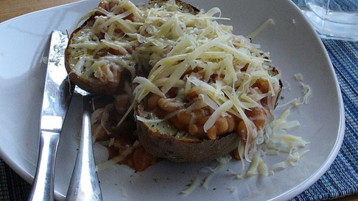 Baked Potatoes and Broad Beans With Pancetta