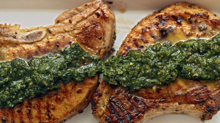 Dinner Tonight: Thyme-Rubbed Pork Chops with Pesto