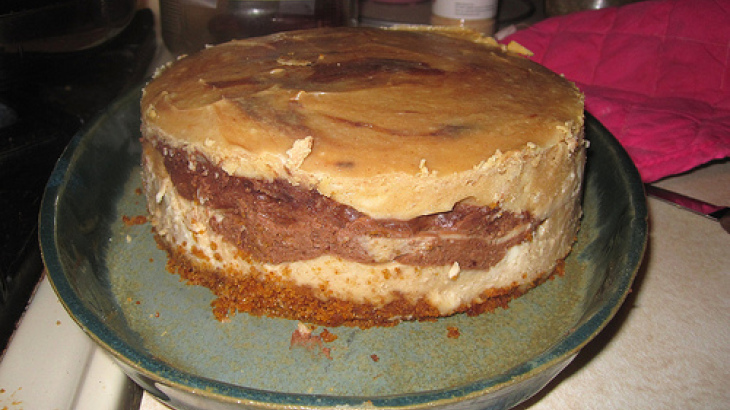 Frozen Peanut Butter Cheesecake With Fudge Sauce Topping
