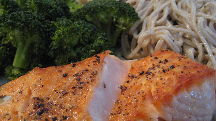 Sesame Seed Crusted Salmon on Soba Noodles