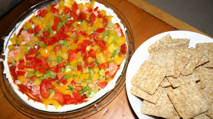 Seven-Layer Shrimp Dip With Mango Salsa