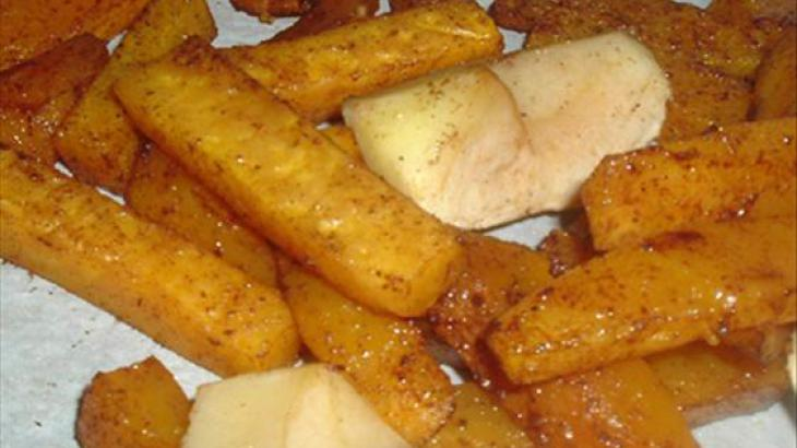 Spicy Butternut Squash Oven Fries With Apples