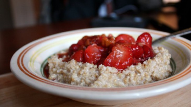 Steel Cut Oatmeal with Strawberry Topping
