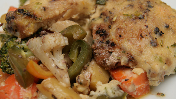 Stove Top One-Dish Chicken Bake With Vegetables.