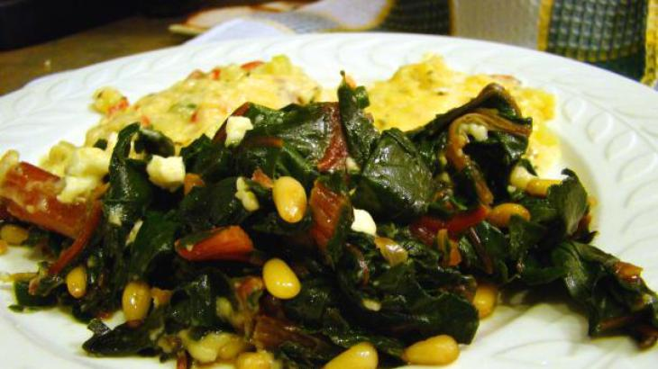 Swiss Chard, Stir Fried, with Feta Cheese