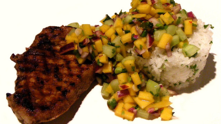 Tropical Grilled Pork Chops With Mango Chutney Salsa